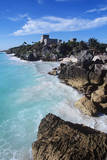 Mexico, Yucatan Peninsula, Carribean Sea at Tulum, the Only Mayan Ruin by Sea Photographic Print by Chris Cheadle