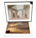 La Mer vue des hauteurs de Dieppe & Une cour a Tanger ; 1832 Set Art by Eugene Delacroix