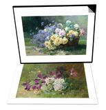 Clematis and Honeysuckle & Basket of Flowers Set Art by Albert Tibulle de Furcy Lavault