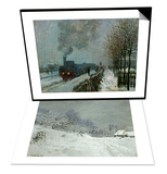 Landscape Around Honfleur, Snow, circa 1867 & Train in the Snow, 1875 Set Posters by Claude Monet
