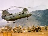 Ch-46 Helicopter Picking up Supplies Photographic Print