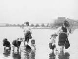 Children Crabbing on the Seashore Photographic Print