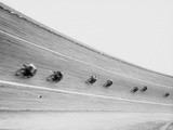 Motorcycles Racing on Sloped Track Photographic Print