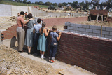 Family Observing a School Construction Site Photographic Print by William Gottlieb