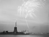 Fireworks over the Statue of Liberty Photographic Print