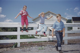 Children Walking Away from Fence Photographic Print by William P. Gottlieb