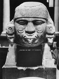 Ancient Aztec Stone Head Photographic Print