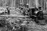 Loggers and Logging Locomotive Photographic Print