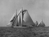 Full-Sailed Yachts in a Schooner Race Photographic Print by Edwin Levick