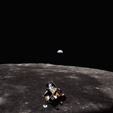 Lunar Module, Earth, and Moon Photographic Print by Michael Collins