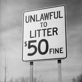 Unlawful to Litter Road Sign Photographic Print by Charles Rotkin
