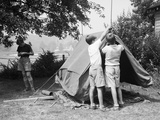 Boys Pitching a Tent Photographic Print by Philip Gendreau