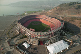 Aerial View of Earthquake Damaged Stadium Photographic Print by Paul Richards