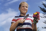 Girl Holding Cut Flowers Photographic Print by William Gottlieb
