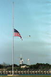 Space Center Lowering Flag Photographic Print by D. Dunaway