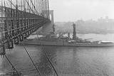 USS West Virgina Passing under Brooklyn Bridge Photographic Print