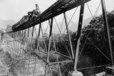 Train Crossing Railroad Trestle Photographic Print