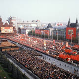 Large Crowd in Red Square Photographic Print