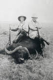 Teddy Roosevelt Sitting on Dead Water Buffalo with Rifle Photographic Print