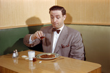Businessman Pouring Syrup on Pancakes Photographic Print by William Gottlieb