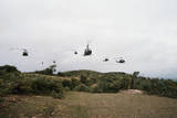 Helicopters Flying in Formation Photographic Print