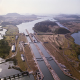 Aerial View of Panama Canal's Miraflores Locks Photographic Print