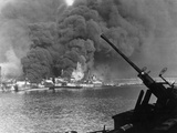 Allied Ships Burning in Battle Photographic Print