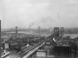 Top View of Brooklyn and Manhattan Bridges Photographic Print