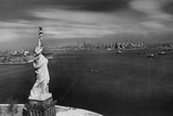 View of New York Skyline and Statue of Liberty Photographic Print