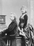 Evard Grieg Playing Piano with Wife Looking On Photographic Print