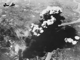 Bombers Attacking Oil Refineries Photographic Print