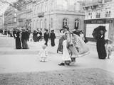 People Strolling along Champs-Elysees Photographic Print