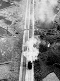 Japanese Passenger Train Stopped by Bombs Photographic Print
