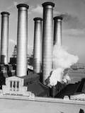 Smokestacks of Edison Power Company Photographic Print by Philip Gendreau