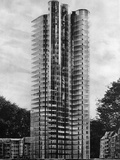 Exterior View of Glass & Steel Highrise Photographic Print