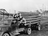 Logging Truck at Sawmill Photographic Print by R. Mattoon
