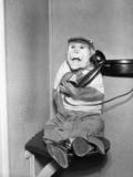 Monkey in Clothing Holds Phone Receiver Photographic Print
