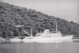 View of Large Yacht near Shore Photographic Print by Adam Scull