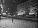 Snowstorm in New York City Leaves times Square Deserted Photographic Print by Frank Mastro