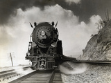 Steam Locomotive Chugging down Track Photographic Print by Philip Gendreau