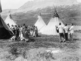 Native Americans Dance amongst Teepees Photographic Print by Philip Gendreau