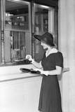 Woman at Bank Teller Window Photographic Print by Philip Gendreau