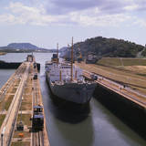 View of Ship at Panama Canal's Miraflores Locks Photographic Print by Hugo Wessels