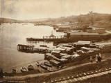 Dock Area and Pedestrians near Railroad Photographic Print by D. V. Byron