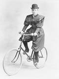 Suffragette Dressed in Man's Hat on Bicycle Photographic Print