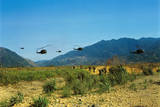 View of Helicopters Landing Photographic Print
