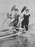 Women with Rowboat Photographic Print