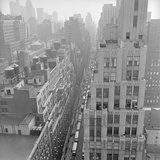 Aerial View of Trucks Delivering Goods in Garment District Photographic Print