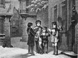 Engraving of Carol Singers in Winter by E. Rosch Photographic Print