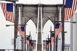 American Flags Lining Brooklyn Bridge Photographic Print